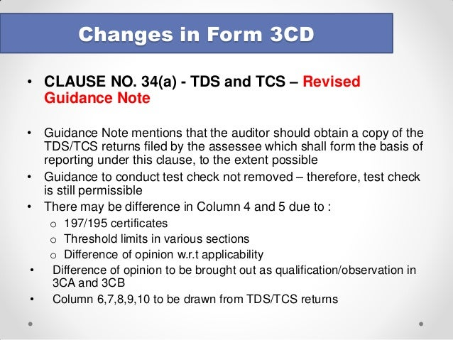 Tax Audit - Changes in form 3CD - August 2014