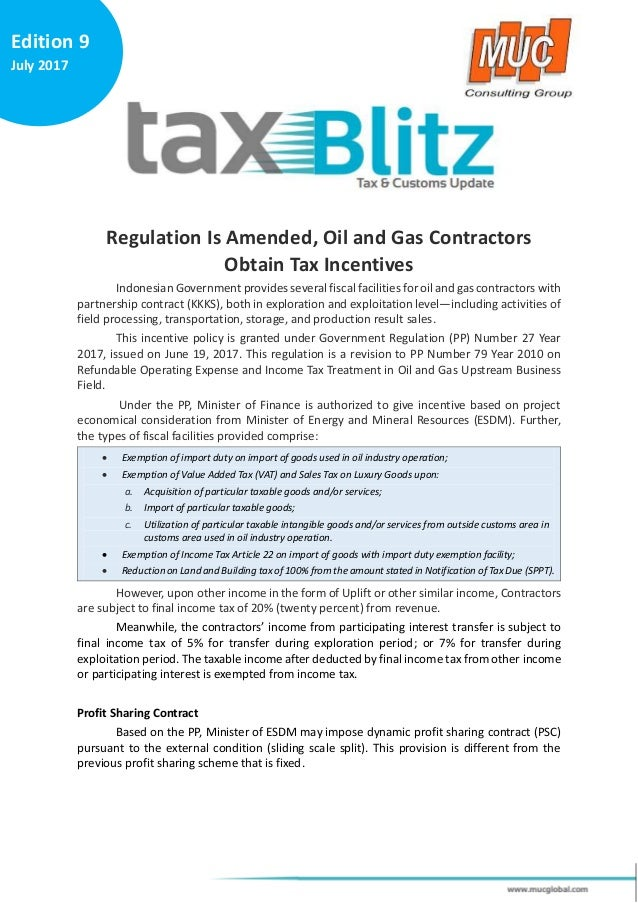 Tax Blitz 9_Regulation Is Amended, Oil and Gas Contractors