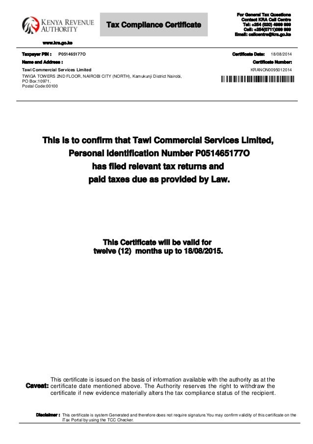 Tax kra compliance certificate thecheapjerseys Image collections