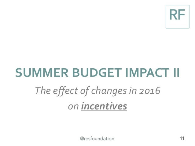 11 SUMMER BUDGET IMPACT II The effect of changes in 2016 on incentives