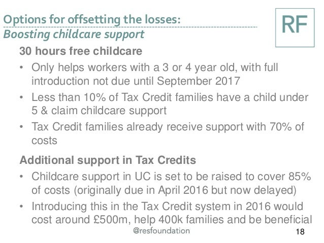 Options for offsetting the losses: Boosting childcare support 18 30 hours free childcare • Only helps workers with a 3 or ...