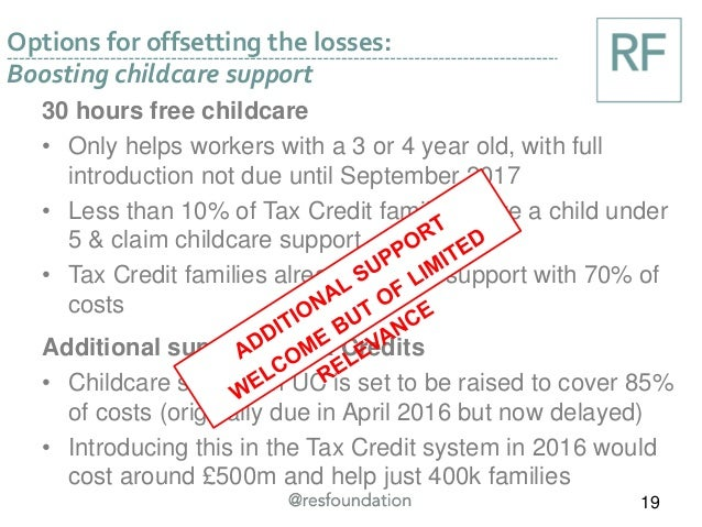 Options for offsetting the losses: Boosting childcare support 19 30 hours free childcare • Only helps workers with a 3 or ...