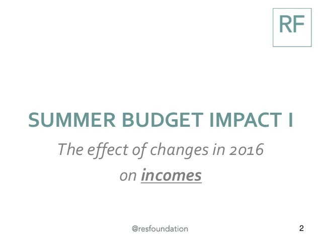 2 SUMMER BUDGET IMPACT I The effect of changes in 2016 on incomes