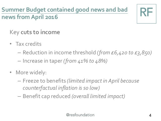 Key cuts to income • Tax credits – Reduction in income threshold (from £6,420 to £3,850) – Increase in taper (from 41% to ...