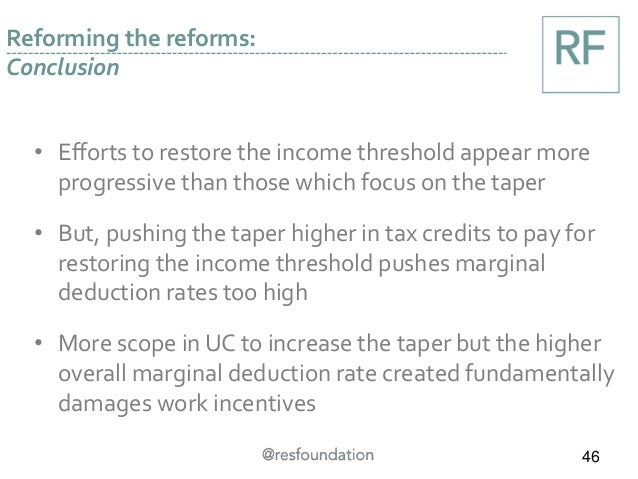 • Efforts to restore the income threshold appear more progressive than those which focus on the taper • But, pushing the t...
