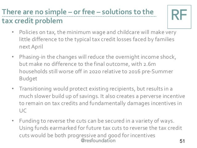 • Policies on tax, the minimum wage and childcare will make very little difference to the typical tax credit losses faced ...