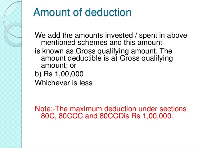 DEDUCTION IN RESPECT OF PENSION FUND(SEC. 80CCC)If the following conditions are fulfilled an assessee mayclaim deduction u...