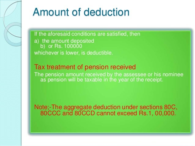 DEDUCTION IN RESPECT OF CONTRIBUTION TO PENSIONSCHEME OF CENTRAL GOVERNMENT (SEC. 80CCD)This section is for allowing deduc...