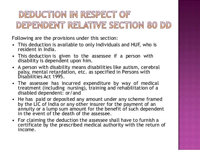 Deduction is available if following are satisfied• Assessee is an individual or HUF resident inIndia.• The assessee has ac...