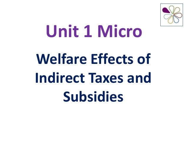 Unit 1 MicroWelfare Effects ofIndirect Taxes andSubsidies