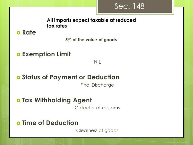 exemption from withholding tax in pakistan