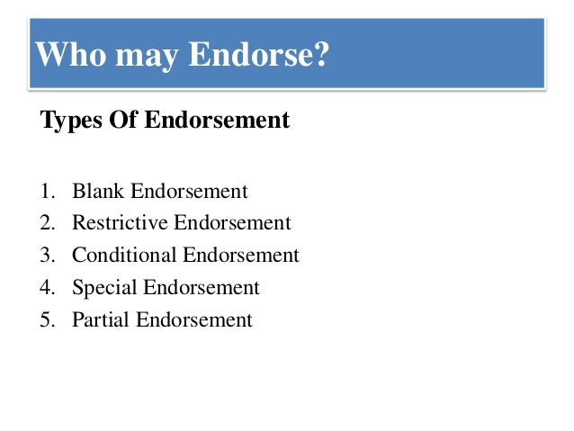 different types of endorsement