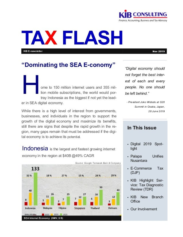 """TAX FLASH """"Digital economy should not forget the best inter- est of each and every people. No one should be left behind."""" ..."""