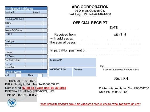 official receipt templates