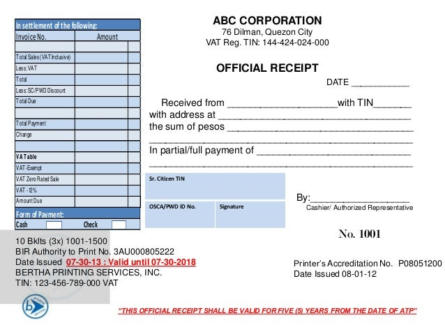 Doc707427 Official Receipt Sample Format Doc707427 Official – Sample Official Receipt