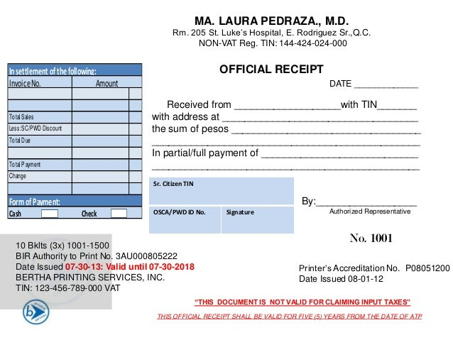 Tax Forum with Real Estate Practitioners – Official Receipt Sample Format