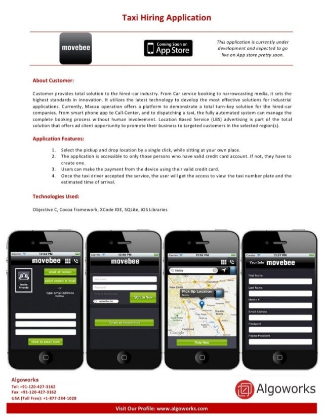Taxi Hiring Application  This application is currently under development and expected to go live on App store pretty soon....