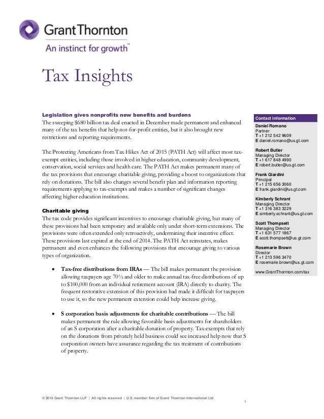 Tax insights: legislation gives nonprofits new benefits and burdens