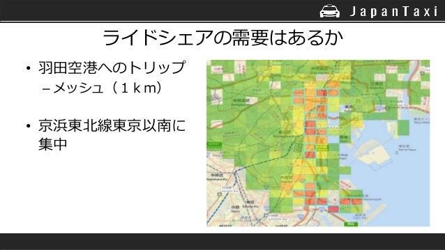 ライドシェアの需要はあるか • 羽田空港へのトリップ – メッシュ(1km) • 京浜東北線東京以南に 集中