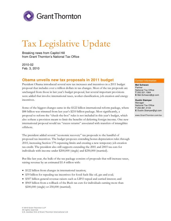 Tax Legislative Update Breaking news from Capitol Hill from Grant Thornton's National Tax Office  2010-02 Feb. 3, 2010   O...