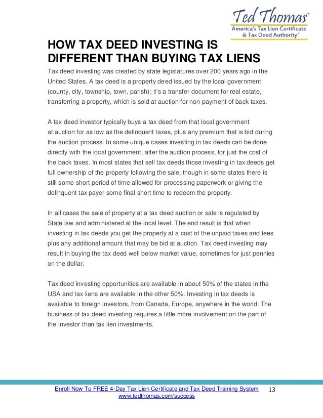 Tax Lien Investing 101 - How to Invest in Tax Deeds and Tax