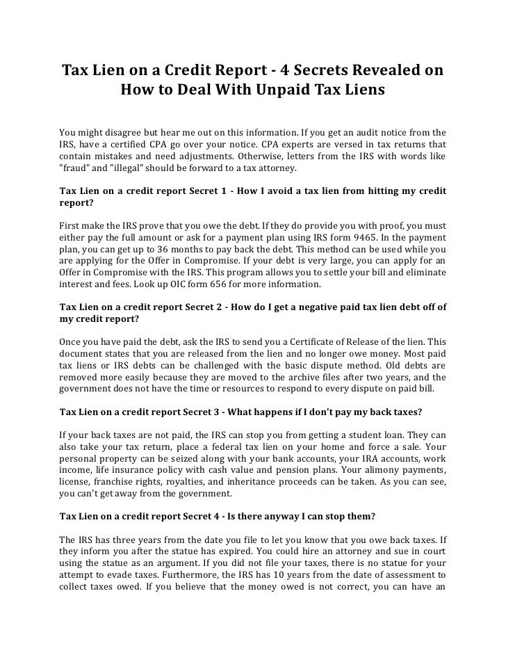Tax Lien On A Credit Report 4 Secrets Revealed On How To Deal With