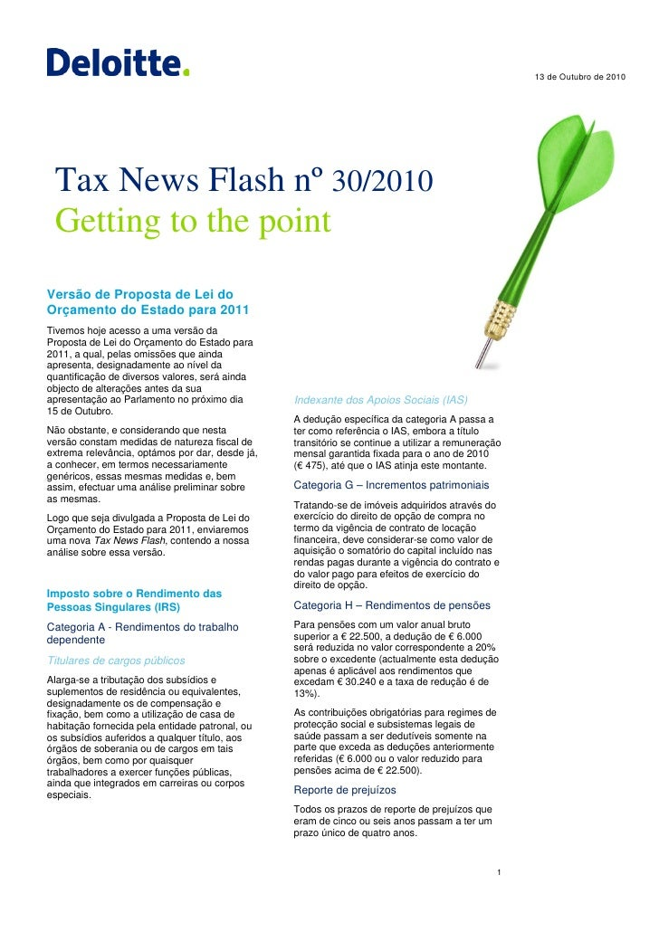 13 de Outubro de 2010      Tax News Flash nº 30/2010  Getting to the point Versão de Proposta de Lei do Orçamento do Estad...