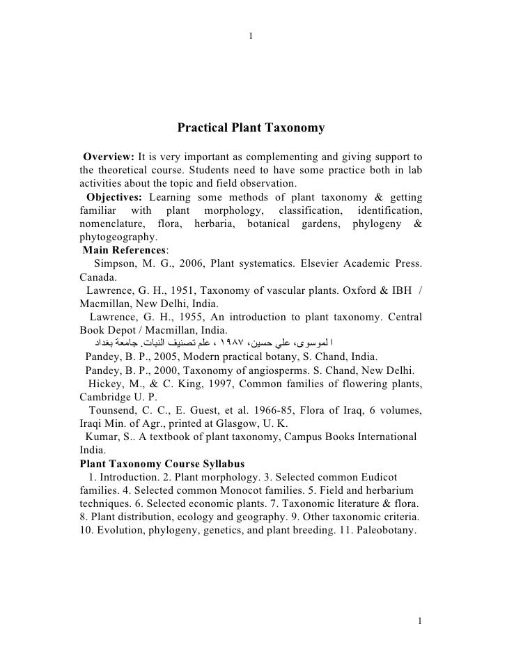 1                     Practical Plant Taxonomy Overview: It is very important as complementing and giving support tothe th...