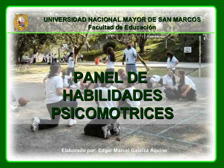 PANEL DE  HABILIDADES PSICOMOTRICES Elaborado por: Edgar Marcel Galarza Aquino