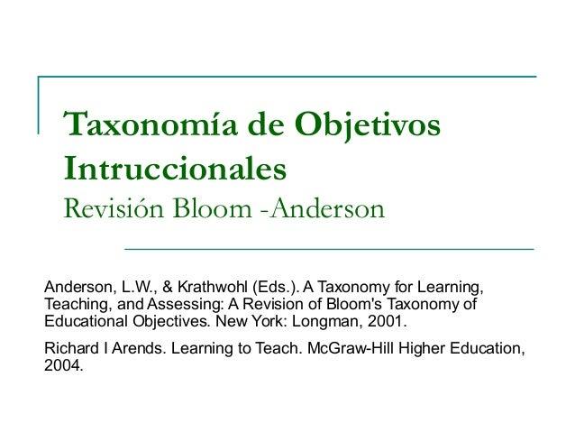 Taxonomía de Objetivos Intruccionales Revisión Bloom -Anderson Anderson, L.W., & Krathwohl (Eds.). A Taxonomy for Learning...