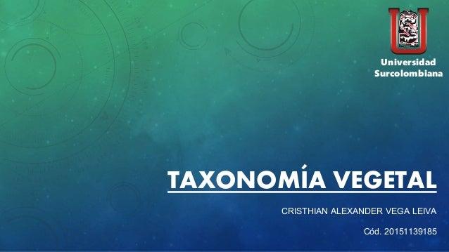 TAXONOMÍA VEGETAL CRISTHIAN ALEXANDER VEGA LEIVA Cód. 20151139185 Universidad Surcolombiana