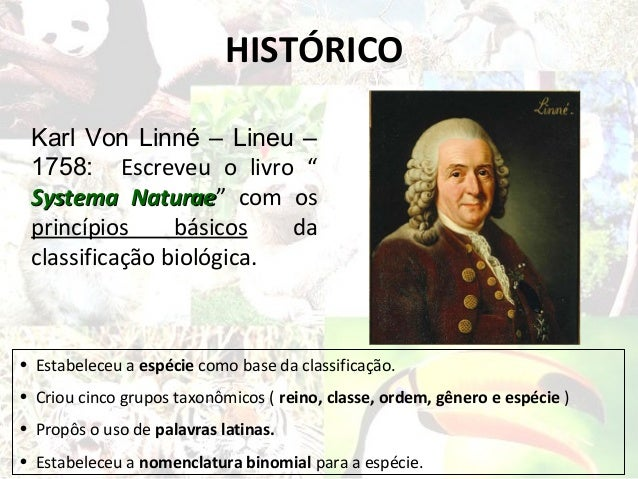 """HISTÓRICO Karl Von Linné – Lineu – 1758: Escreveu o livro """" Systema Naturae"""" com os            Naturae princípios     bási..."""