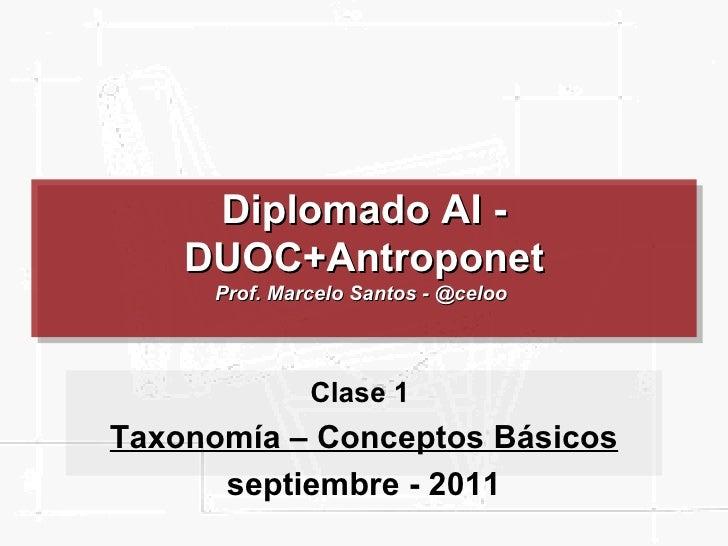 Diplomado AI - DUOC+Antroponet Prof. Marcelo Santos - @celoo  Clase 1  Taxonomía – Conceptos Básicos septiembre - 2011