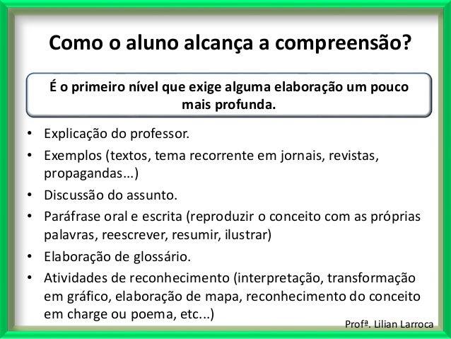 Profª. Lilian Larroca Como o aluno alcança a compreensão? • Explicação do professor. • Exemplos (textos, tema recorrente e...
