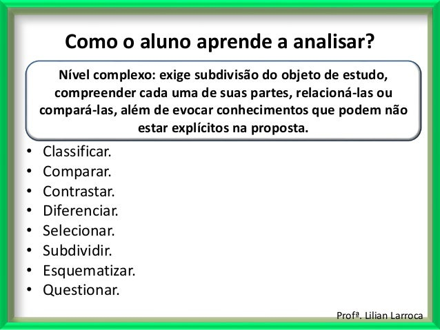 Profª. Lilian Larroca Como o aluno aprende a analisar? • Classificar. • Comparar. • Contrastar. • Diferenciar. • Seleciona...