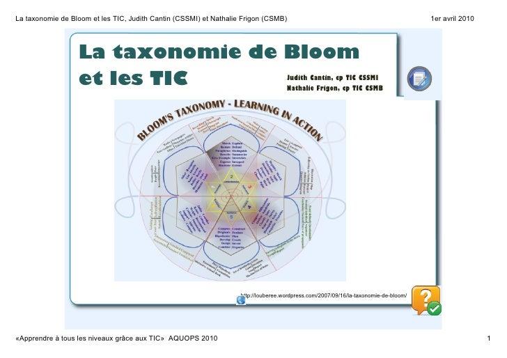LataxonomiedeBloometlesTIC,JudithCantin(CSSMI)etNathalieFrigon(CSMB)                                         ...