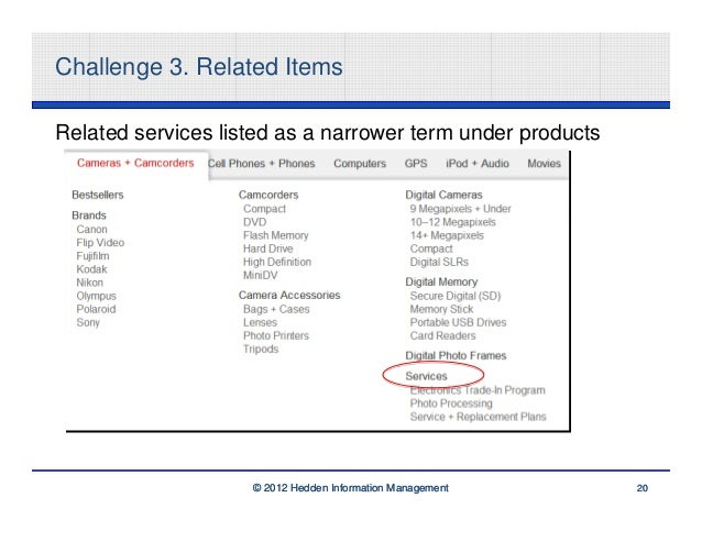 Challenge 3. Related ItemsRelated services listed as a narrower term under products                    © 2012 Hedden Infor...