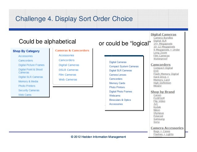 """Challenge 4. Display Sort Order Choice Could be alphabetical                or could be """"logical""""                    © 201..."""