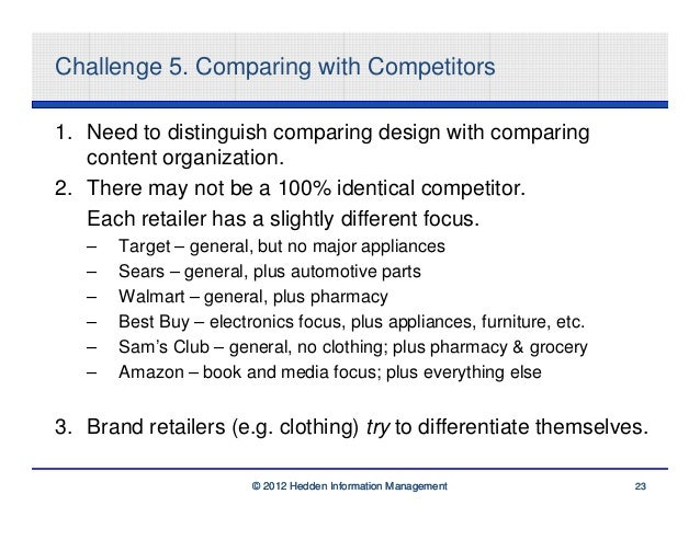 Challenge 5. Comparing with Competitors1. Need to distinguish comparing design with comparing   content organization.2. Th...