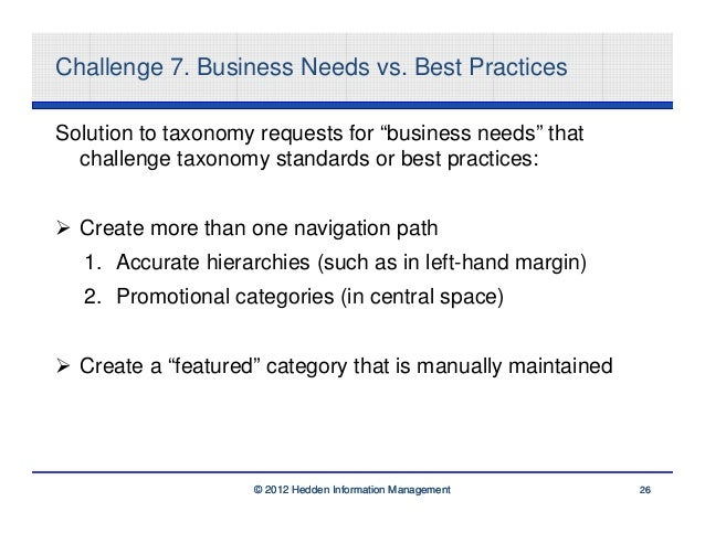 """Challenge 7. Business Needs vs. Best PracticesSolution to taxonomy requests for """"business needs"""" that  challenge taxonomy ..."""