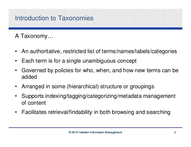 Introduction to TaxonomiesA Taxonomy…• An authoritative, restricted list of terms/names/labels/categories• Each term is fo...