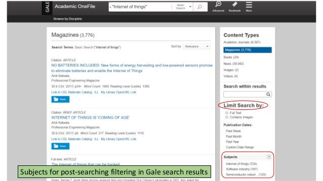 Subjects for post-searching filtering in Gale search results
