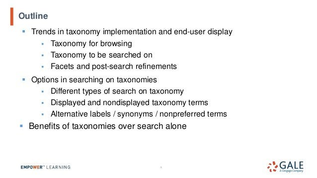 ▪ Trends in taxonomy implementation and end-user display ▪ Taxonomy for browsing ▪ Taxonomy to be searched on ▪ Facets and...