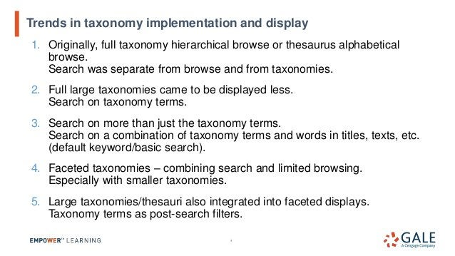 1. Originally, full taxonomy hierarchical browse or thesaurus alphabetical browse. Search was separate from browse and fro...
