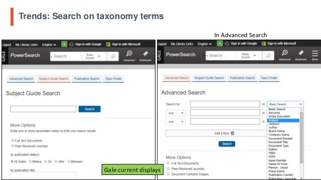 Trends: Search on taxonomy terms 9 In Advanced Search Gale current displays