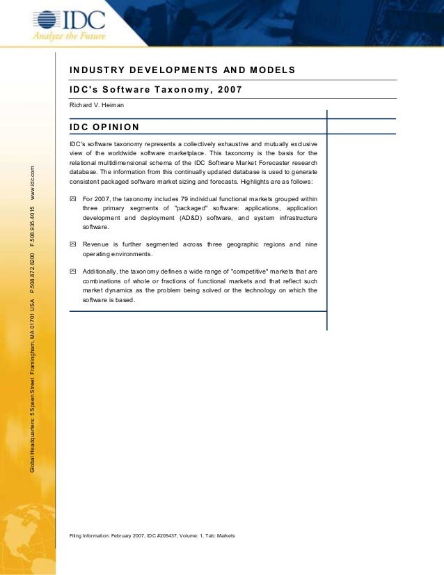 INDUSTRY DEVELOPMENTS AND MODELS                                                               IDCs Software Taxonomy, 200...