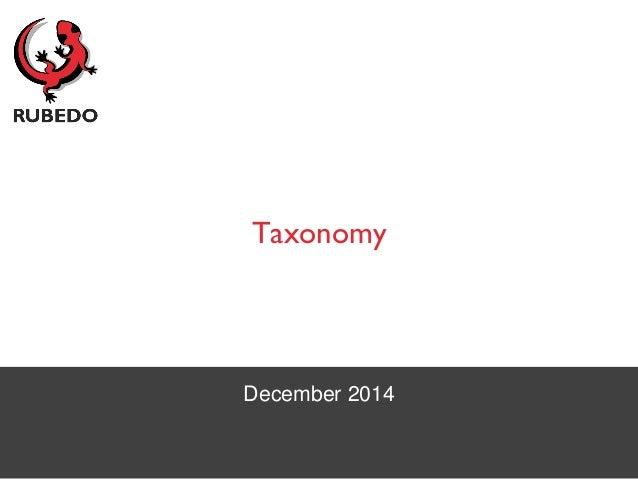 December 2014  Taxonomy