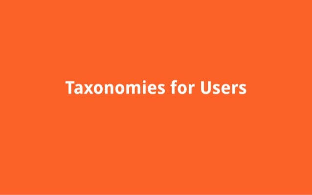 Taxonomies for Users