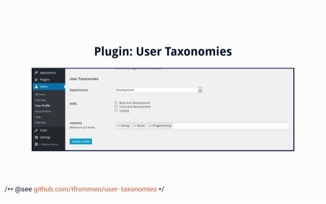 Plugin:  User Taxonomies  , ' Appeaianre  gi piugjm User Taxonomies  ' Users  Departments Development  Backend development...