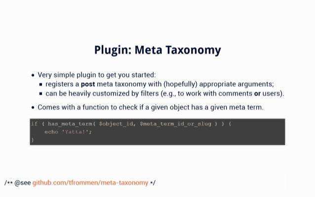 Plugin:  Meta Taxonomy  it Very simple plugin to get you started:  r registers a post meta taxonomy with (hopefully) appro...